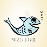 Paper fish and text poisson d avril, april fools day in french Royalty Free Stock Photo