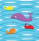 Paper fiskar i havvektor vektor illustrationer