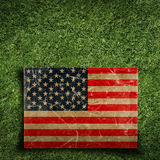 Paper flag of USA on grass Royalty Free Stock Images