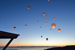 Paper Floating Lanterns release on Grouse Mountain Stock Photos
