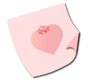 Paper on a floor with a crowned heart. A paper lying on a white floor with a pink heart Royalty Free Stock Photography