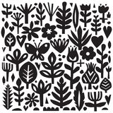 Paper floral elements. Cutout florals. Vector plant silhouettes. Scandinavian style. Botanical collection. Royalty Free Stock Image