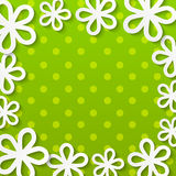 Paper floral frame on green Royalty Free Stock Photos