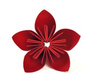 Paper flower. Red paper flower artwork stock photos
