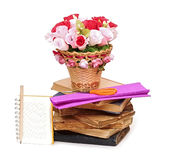 Paper flower in a basket Stock Photos