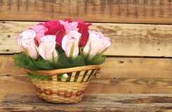 Paper flower in a basket Royalty Free Stock Images