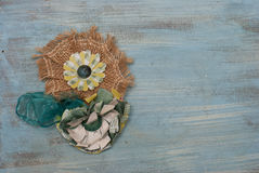 Paper Flower and Burlap Corsage royalty free stock image