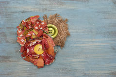 Paper Flower  and Burlap Corsage Stock Photo