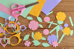 Paper flower craft for kids Royalty Free Stock Photos