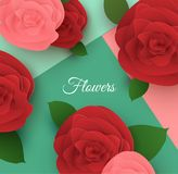 Paper flower frame background. Royalty Free Stock Photo