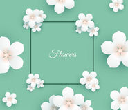 Paper flower frame background. Paper white flower colorful frame background. EPS10 Royalty Free Stock Image