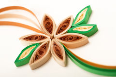 Paper flower on a greeting card close-up made with quilling tech Stock Images