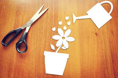 Paper flower in a pot Stock Images