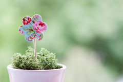 Paper flower in a pot Stock Photo