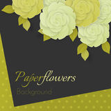 Paper flower realistic illustration of white and green cream roses. Paper flower realistic style vector illustration of soft full blown white and green cream Royalty Free Stock Photos