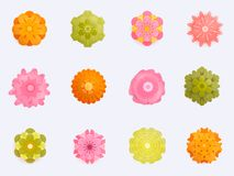 Paper Flower with realistic shadow set. 3d rendering, papercut art, floral backround, botanical elements, pastel spring. Colors, isolated Stock Image