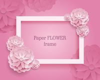 Paper flower rectangular rame pink background Stock Photo