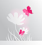 Paper flower and red butterfly Stock Photos