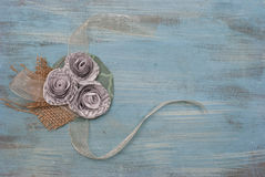 Paper Flower and Ribbon Literary Corsage Stock Images