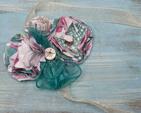 Paper Flower and Ribbon Literary Corsage Stock Photos