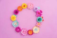 Paper flower wreath Stock Image