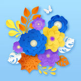 Paper Flowers Abstract Composition Template Royalty Free Stock Photos
