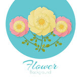 Paper flowers background with exotic flowers pink and yellow colors Royalty Free Stock Image