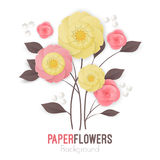 Paper flowers background with exotic flowers pink and yellow colors Stock Photo