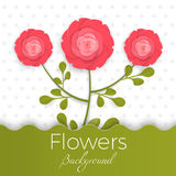 Paper flowers background with exotic flowers of red and green colors Stock Photos