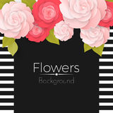 Paper flowers background with stripped frame, black middle and roses Royalty Free Stock Photo
