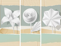 Paper flowers- banners Royalty Free Stock Photos