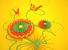 Paper flowers and butterflies on a yellow background. 3D image. Paper flowers and butterflies on a yellow background. 3D image, render Royalty Free Stock Photo