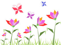 Paper flowers and butterfly Stock Image