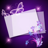 Paper, flowers and butterfly Royalty Free Stock Photography
