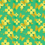 Paper flowers and butterfly seamless pattern. Background Royalty Free Stock Photos