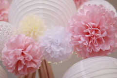 Paper flowers and chinese lantern Royalty Free Stock Images