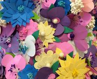 Paper flowers closeup Stock Images