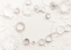 Paper flowers frame. White paper flowers on the white background Royalty Free Stock Images