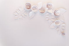 Paper flowers frame Royalty Free Stock Images