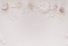 Paper flowers. Frame with white paper flowers on white background. Cut from paper Stock Photography