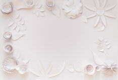 Paper flowers. Frame with white paper flowers on white background. Cut from paper Royalty Free Stock Photography