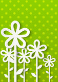 Paper flowers on green polka dot Royalty Free Stock Photo