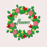 Paper flowers. This illustration shows a wreath of paper flowers vector illustration