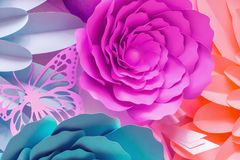 Paper flowers made from cut cardboard. Flowers made out of paper royalty free illustration