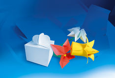 Paper flowers and paper box. Die cutter, finishing, polygraphy background. Space for text stock image