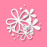 Paper flowers on pink Stock Image