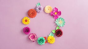 Paper flowers rotating stock footage