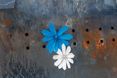 Paper flowers on a rusty police shield Royalty Free Stock Photos