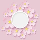Paper flowers of sakura stock photo