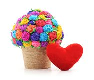 Paper flowers in vase with heart. Paper flowers in vase with heart on a white background Royalty Free Stock Photo